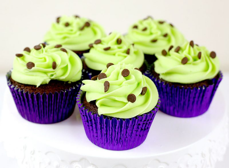 mint-choc-chip cupcakes